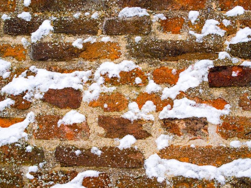 用雪花盖的红褐色的砖墙 免版税库存图片