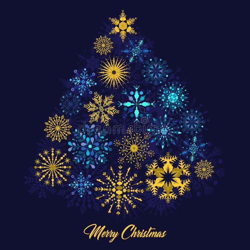 用雪花装饰的圣诞树的传染媒介例证 库存例证