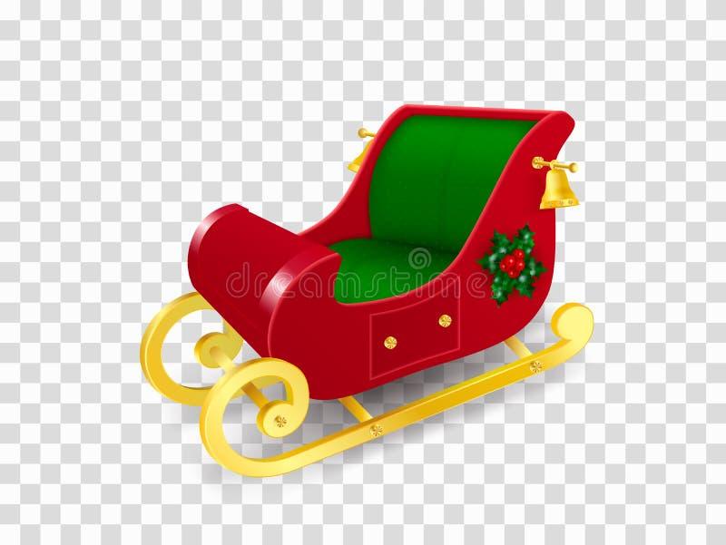用霍莉叶子与金子滑行的装饰的圣诞老人项目圣诞节雪橇和莓果和金铃 现实传染媒介 库存例证
