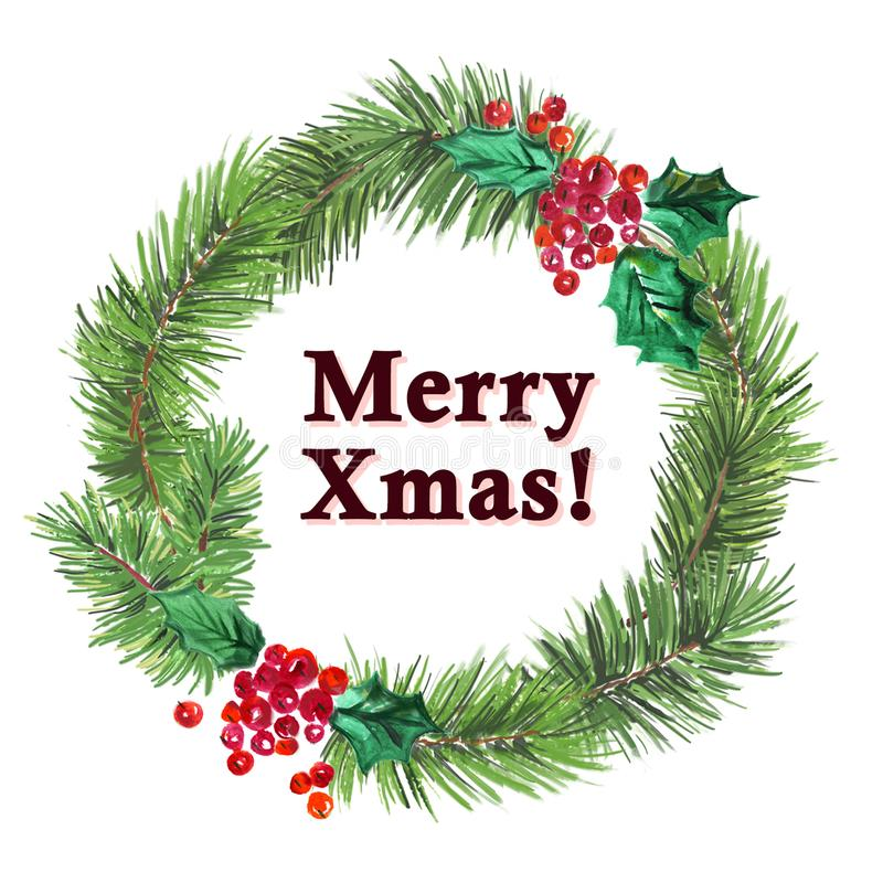 用霍莉莓果元素装饰的水彩艺术性的手拉的圣诞节杉树花圈 库存例证