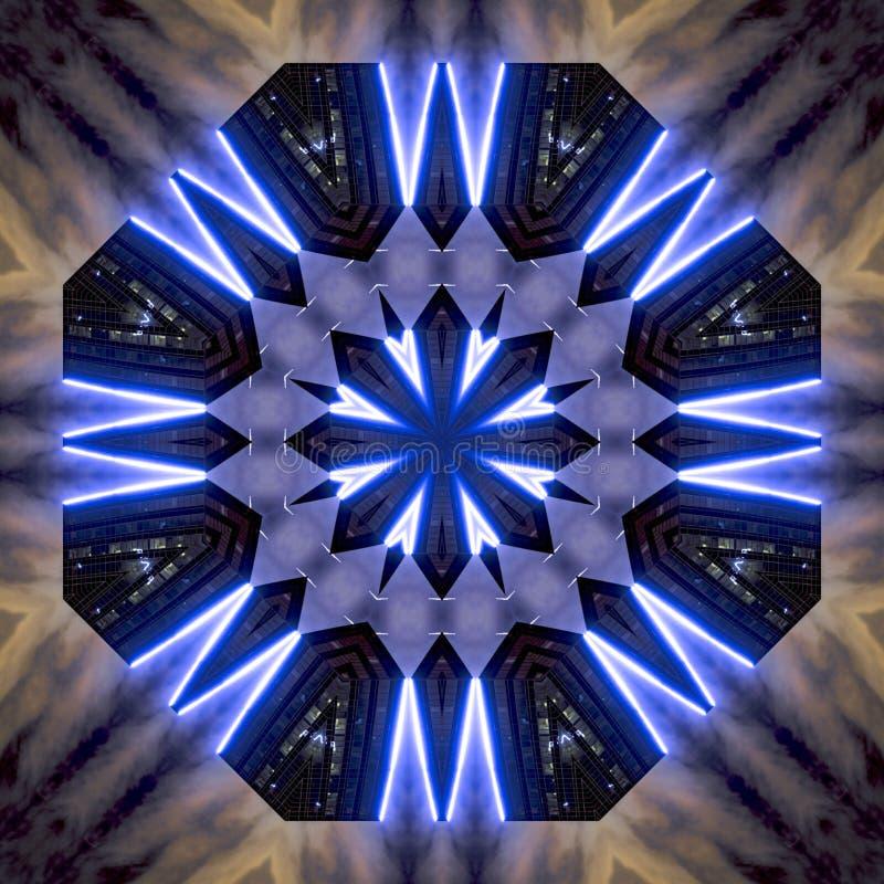 用霓虹蓝色光做的星在圣迭戈 向量例证