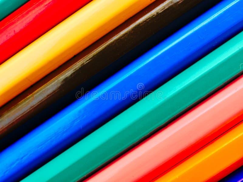 用颜色铅笔做的抽象背景 库存图片
