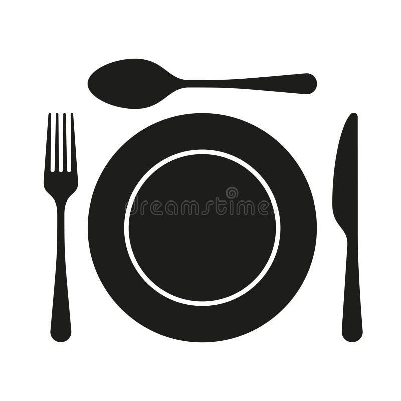 用餐与板材、叉子和刀子的平的象 皇族释放例证