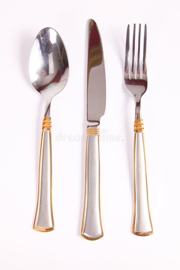 用餐在白色的工具 库存照片
