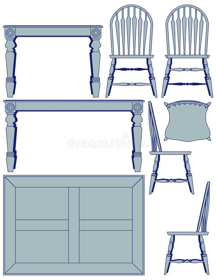 用餐家具的图纸 库存例证