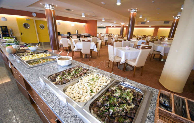 用餐旅馆客房的自助餐 库存图片