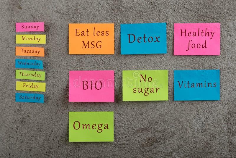 用餐计划概念-许多与词的五颜六色的稠粘的笔记吃较不信息、戒毒所,健康食品,生物,没有糖,维生素,Ω和 免版税库存图片