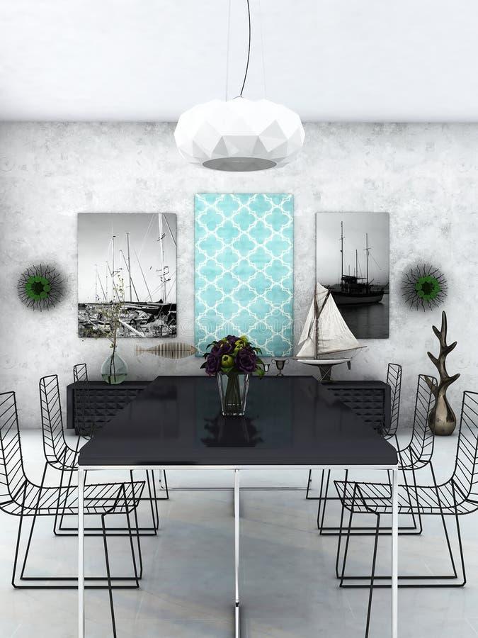 用餐玻璃空间圆桌的接近的刀叉餐具 向量例证