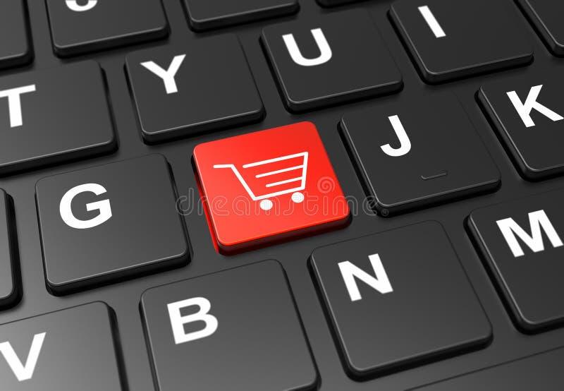 用黑色键盘上的购物车关闭红色按钮。用黑色键盘上的购物车关闭红色按钮:3Då›¾ 免版税库存照片
