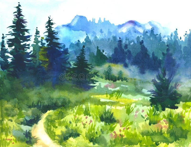 用水彩创造的晴朗的夏天forestPicture 库存例证