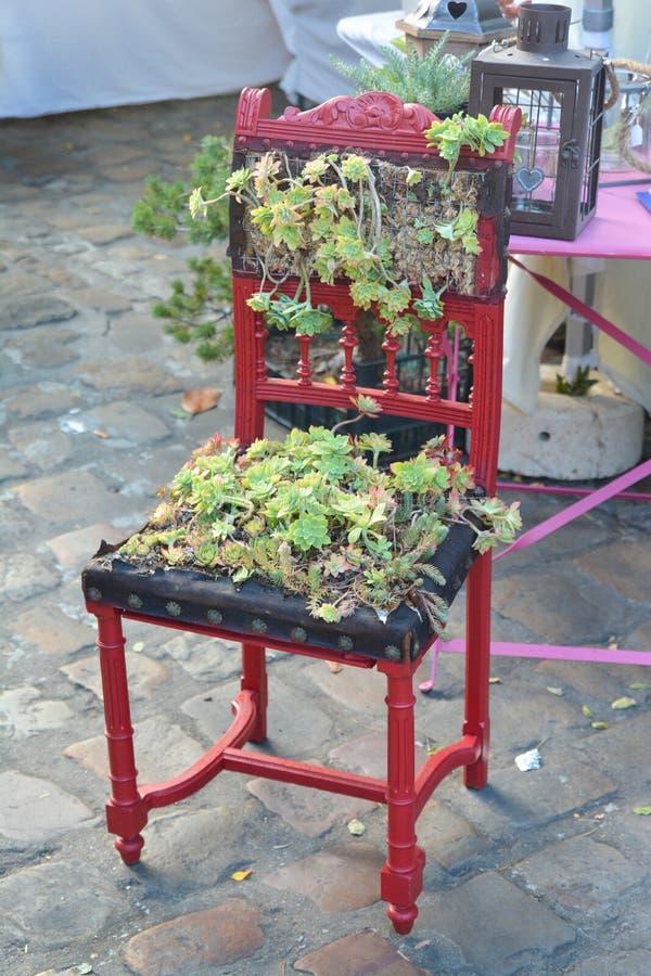 用绿色植物装饰的椅子 免版税库存图片