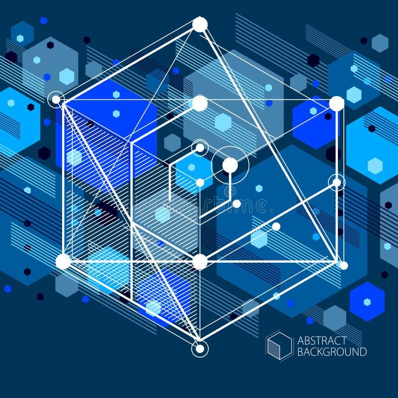 用3D做的工程学技术传染媒介深蓝墙纸c 库存例证