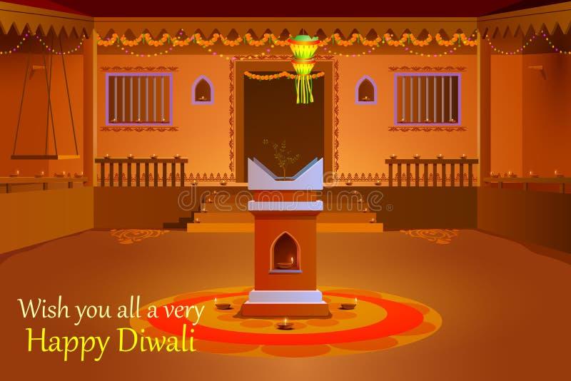 用diya装饰的印地安房子在屠妖节夜 皇族释放例证