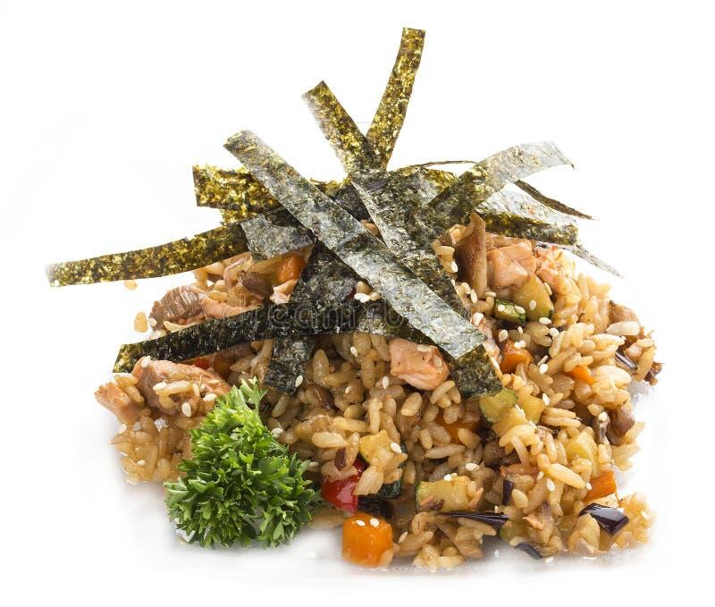 田半 与鸡的油煎的肉饭 亚洲午餐 库存图片
