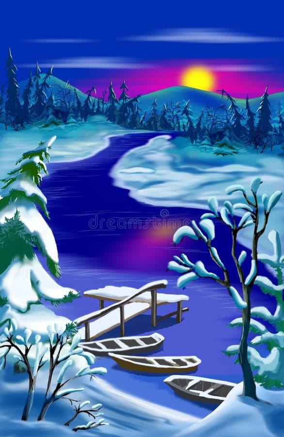 田园诗冬天农村风景 向量例证