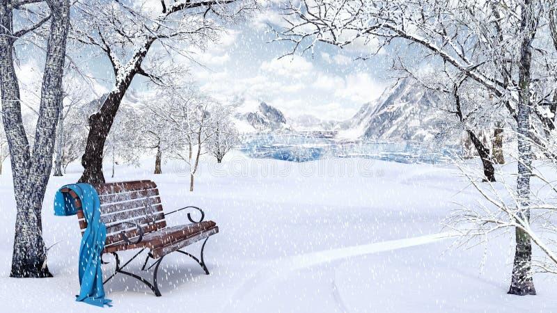 田园诗冬天背景 向量例证