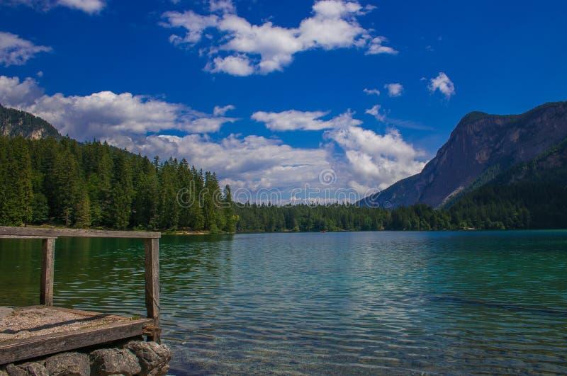 田园诗山湖在夏季的特伦托自治省,意大利 库存图片