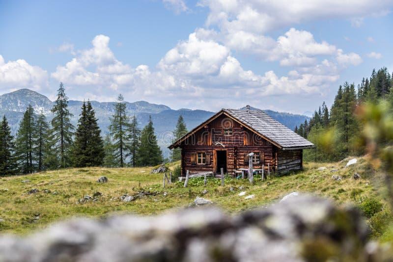 田园诗山风景在阿尔卑斯:山瑞士山中的牧人小屋、草甸和天空蔚蓝 库存图片