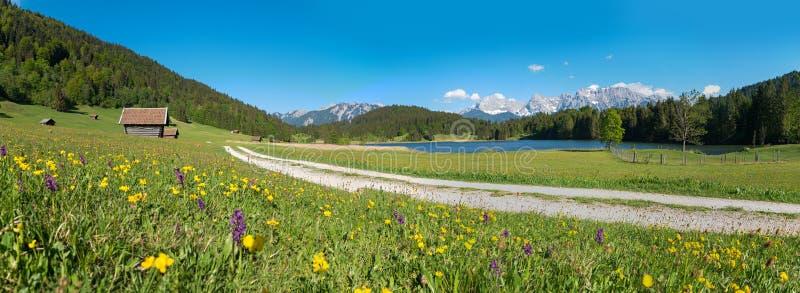 田园诗风景全景回合湖geroldsee在春天 免版税库存照片