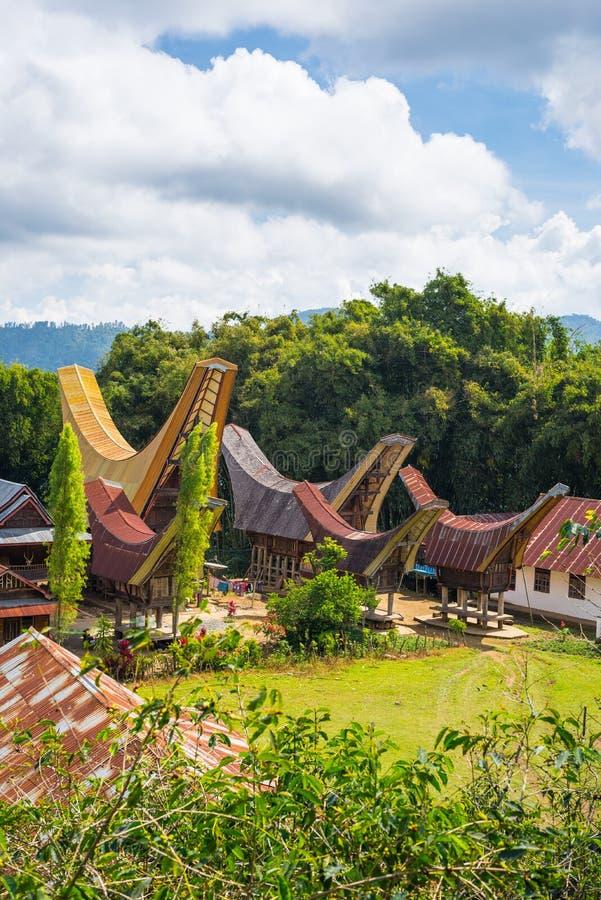 田园诗风景的传统Toraja村庄 免版税库存照片