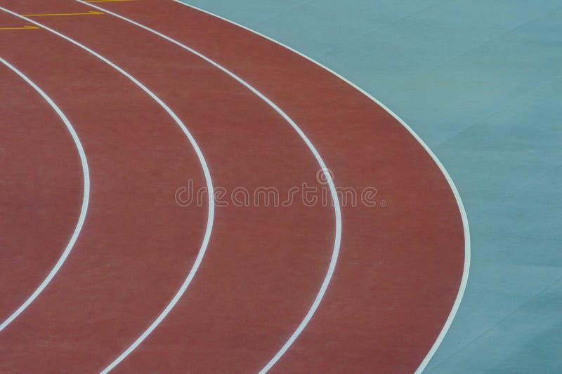 田径运动车道 跑的车道在田径运动运动中心 免版税图库摄影
