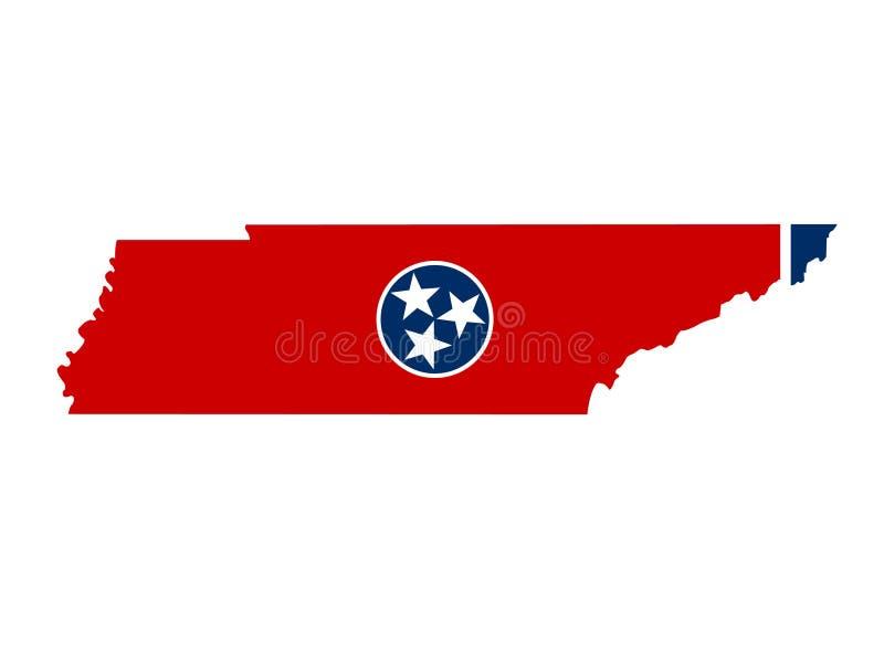 田纳西地图和旗子-位于美国的东南地区的状态 库存例证