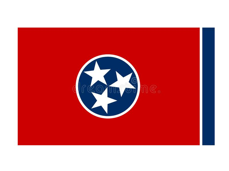田纳西旗子-位于美国的东南地区的状态 库存例证