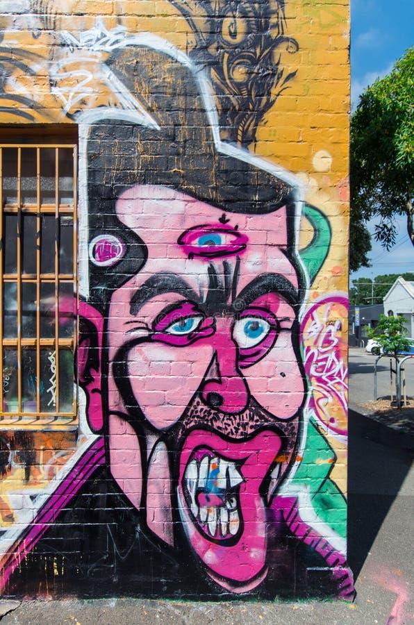 由一位未知的艺术家的街道艺术在Collingwood,墨尔本 免版税库存图片