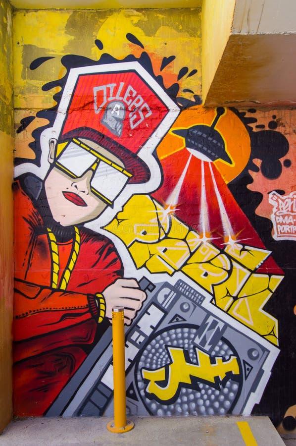 由一位未知的艺术家的街道艺术布朗斯维克街, Fitzroy 库存照片