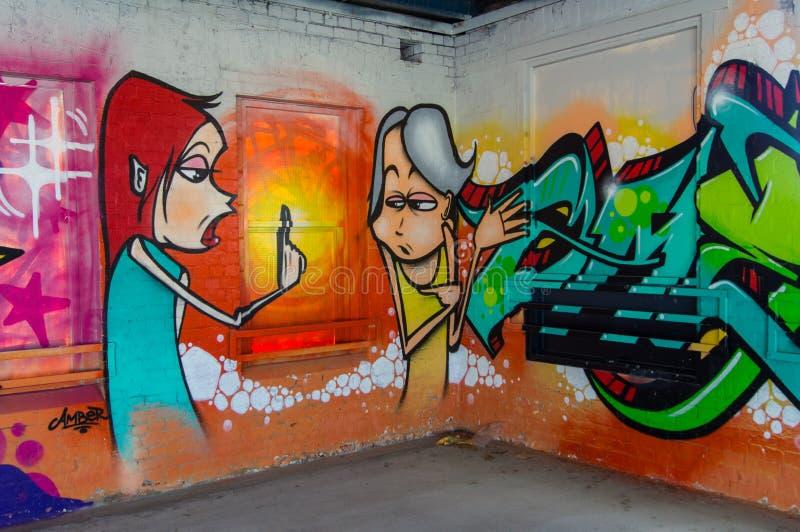 由一位未知的艺术家的街道艺术布朗斯维克街, Fitzroy 图库摄影