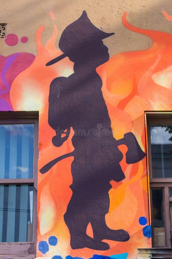 由一位未知的艺术家的街道艺术布朗斯维克街, Fitzroy 免版税图库摄影