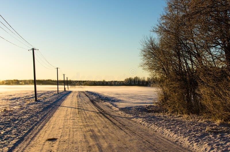 由一条多雪的乡下路的电线杆 免版税库存图片