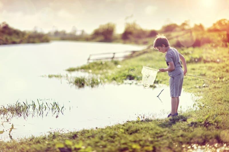 由一条河的男孩有在夏天太阳的一个捕鱼网的 库存图片