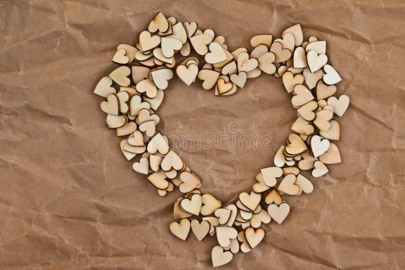 由一点木心脏做的心脏形状 免版税库存照片