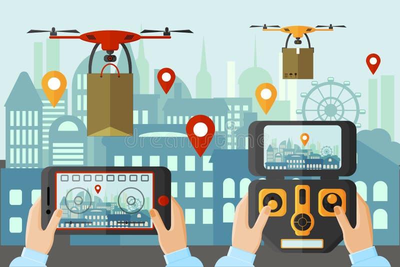 由不同的应用的人发射的寄生虫在大城市 现代技术概念设备 向量例证