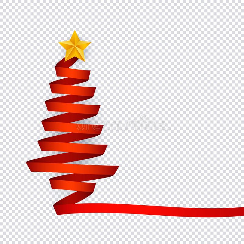 由与星的红色丝带做的圣诞树的传染媒介例证在上面在透明背景 向量例证