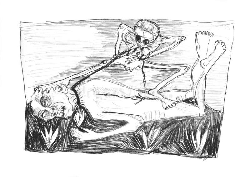 由与死亡的胜利的题材的铅笔图做的例证 库存例证