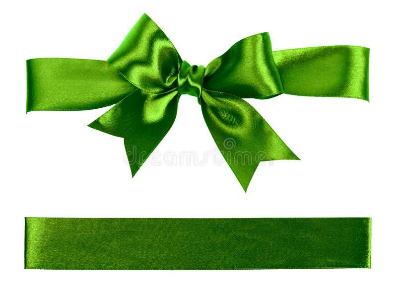 由丝绸做的大绿色弓 库存照片