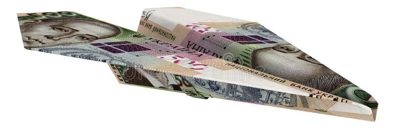 由乌克兰钞票做的纸飞机 皇族释放例证
