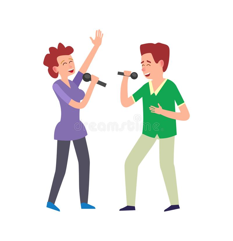 由二重奏的音乐表现,结合男人和妇女 库存例证