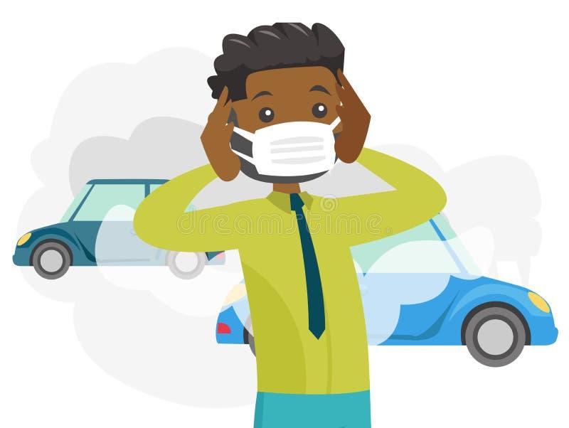 由于毒性大气污染的人佩带的面具 向量例证