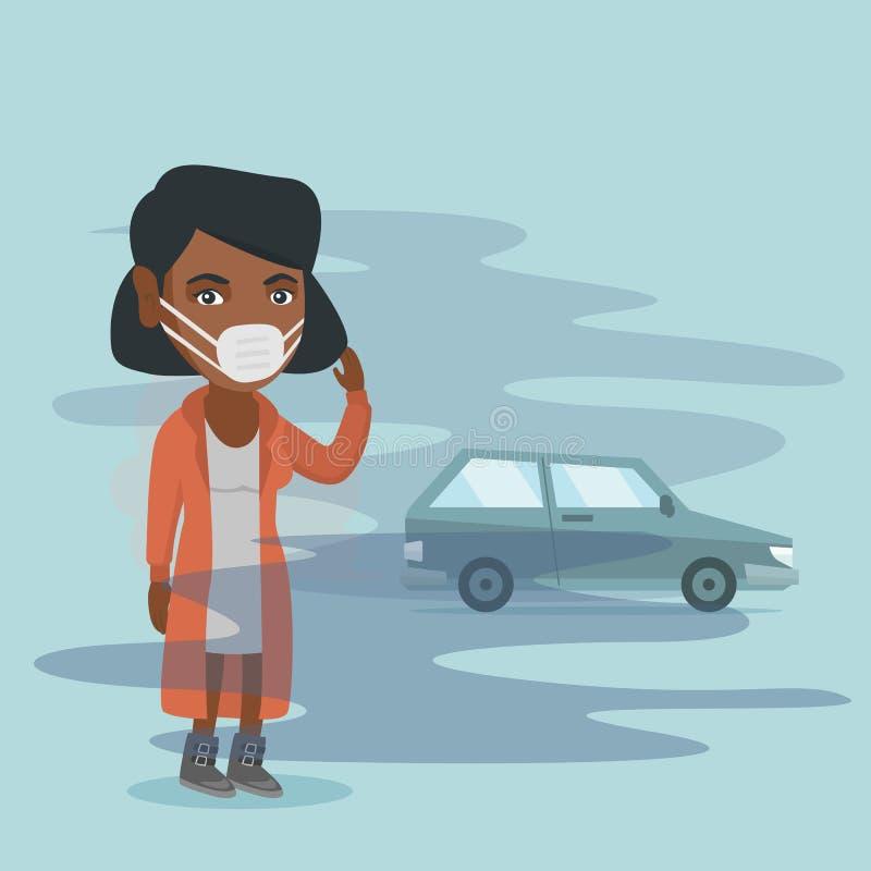 由于毒性大气污染的妇女佩带的面具 库存例证