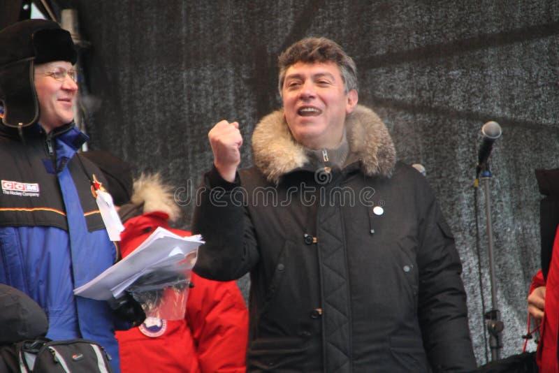 由于的政策尼可拉雷日科夫和鲍里斯・涅姆佐夫 库存照片