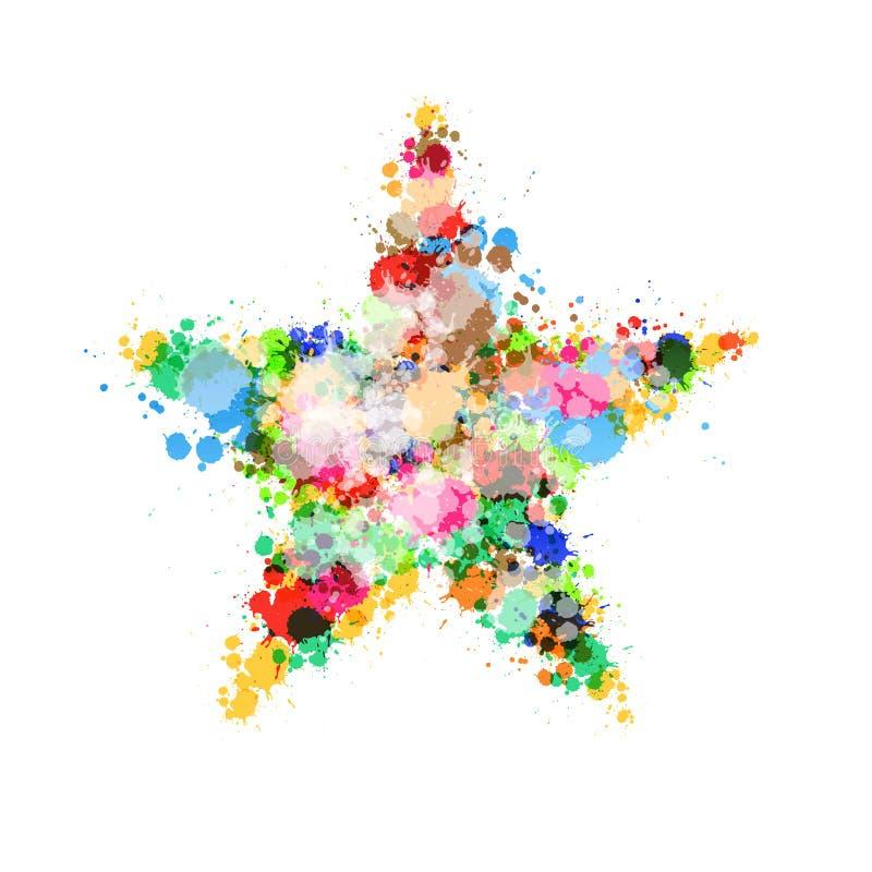 由五颜六色做的星标志飞溅,污点,污点 库存例证