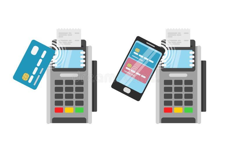 由信用卡的无线付款使用POS终端 库存例证