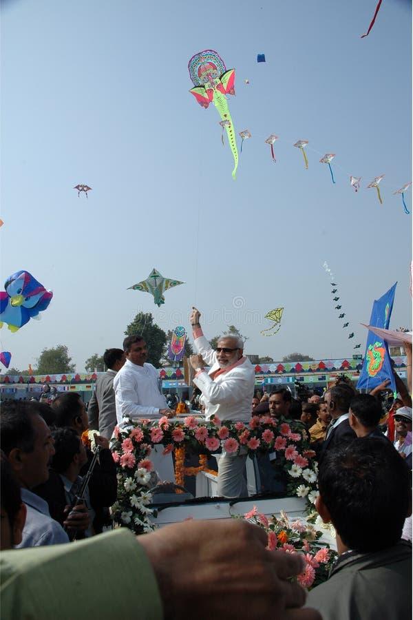 由先生的风筝飞行 Narendra Modi 免版税图库摄影