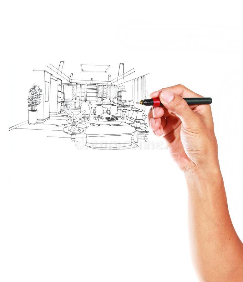 由内部客厅的笔的图形式草图 库存例证