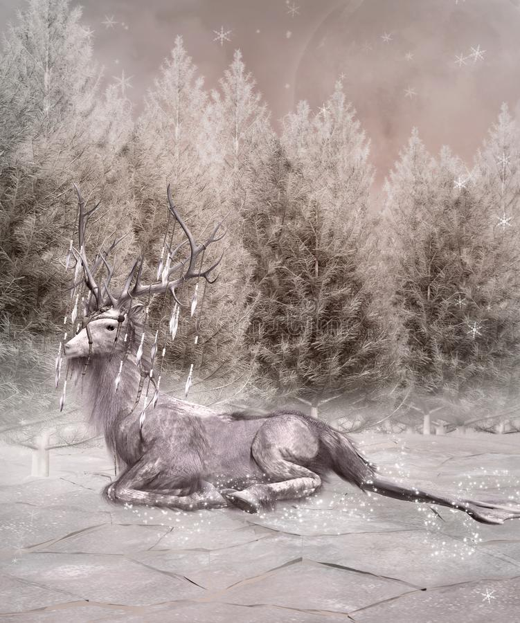 由冻森林的一只麋 库存例证