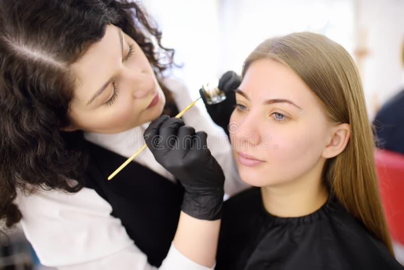 由刷子的美容师绘的眼眉 可及面部关心和构成的可爱的妇女发廊 建筑学眼眉 免版税库存图片