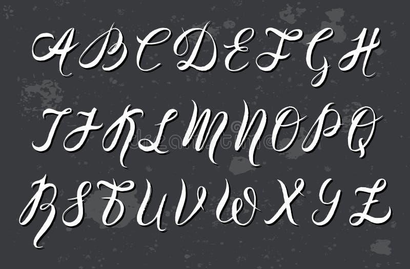 由刷子笔的手拉的字体,水彩字母表,在灰色背景的大写字母 库存例证